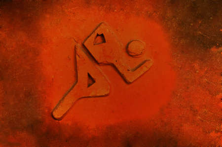 Runner  symbol on grunge red tile photo
