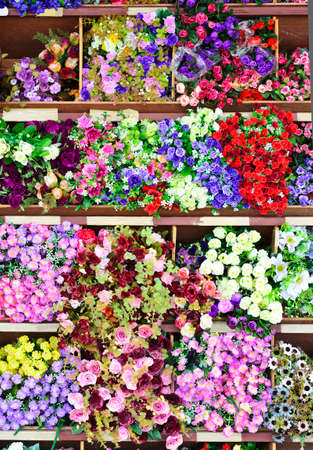 Colorful fabric flower at flower shop Stock Photo