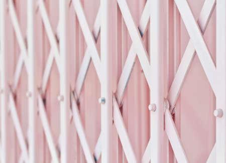 Pink metal grille sliding door