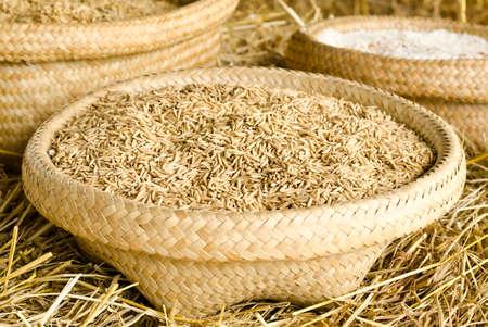 Rice grain in basket