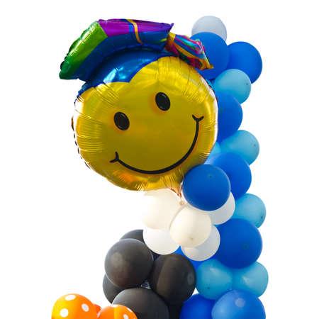 Graduation balloons on white background