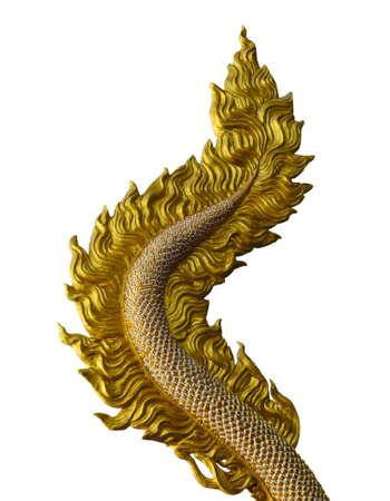 Dragon tail sculpture isolated on white background with working path photo