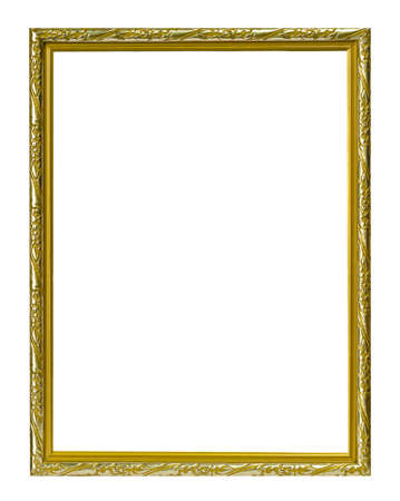 gold metal: Golden frame isolated on the white background Stock Photo
