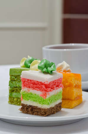layer cake: Yummy layer cake with coffee