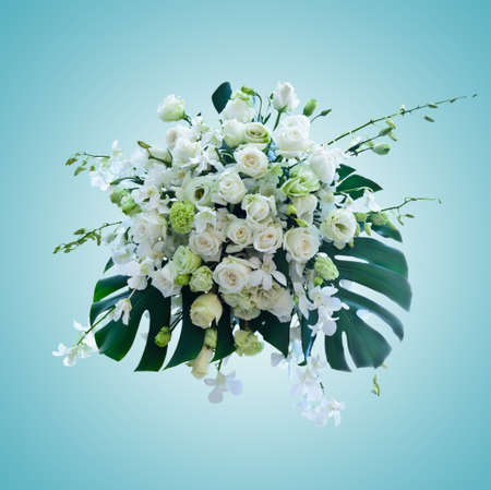 white roses arrangement on light blue background with working path
