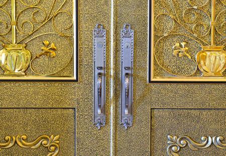 decorative wall: Beautiful brass door with aluminium handle