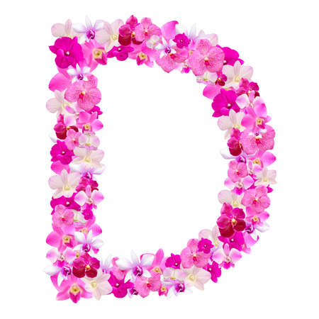d: Letter D from orchid flowers isolated on white with working path Stock Photo