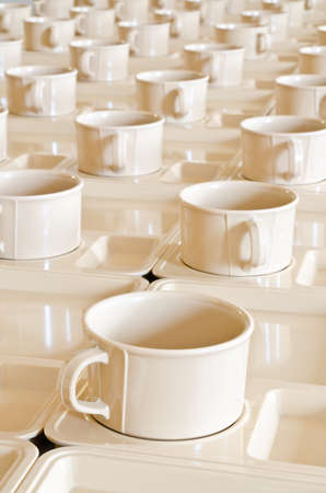 bar ware: Group of coffee cups on plates