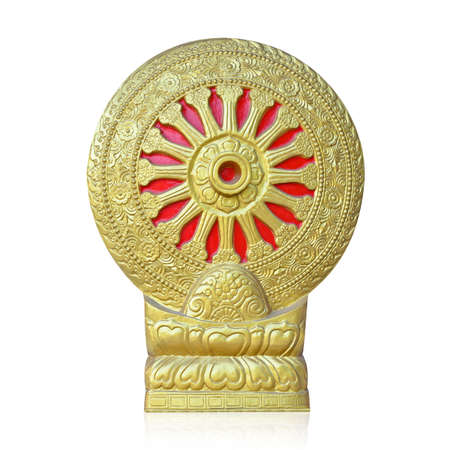 isoalated: Thai style golden molding wheel of life at Thai temple isolated on white with working path Stock Photo