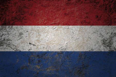 identidad cultural: grunge bandera de Netherland en el fondo de piedra