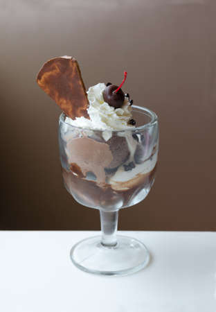 Chocolate ice cream with chocolate crunches and wafer Stock Photo