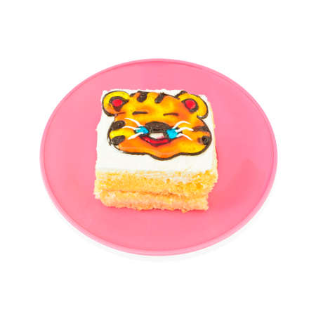 decorated cake: Yummy tiger cartoon decorated cake on white background with working path