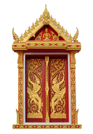 dhamma: golden angle sculpture on Thai temple window over white background with working path Stock Photo