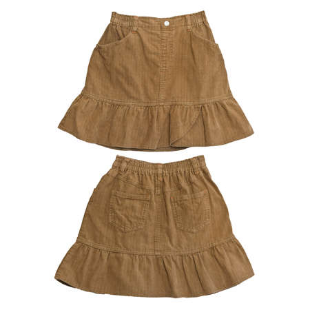 front and rear brown corduroy skirt on white background Stock Photo