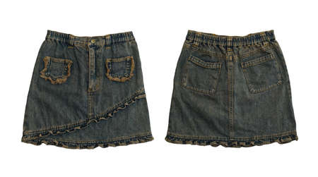 denim skirt: Denim skirt, front and rear on white background