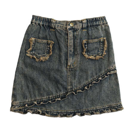 denim skirt: Denim skirt on white background with working path