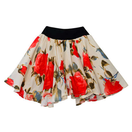 Skirt with red roses print isolated on white with working path