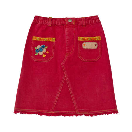 denim skirt: Red denim skirt on white background with working path Stock Photo