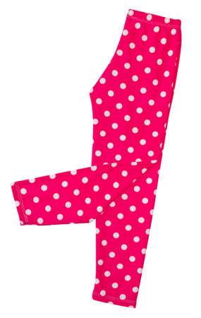 Pink polka dots legging (skinny) for young girl on white background with working path