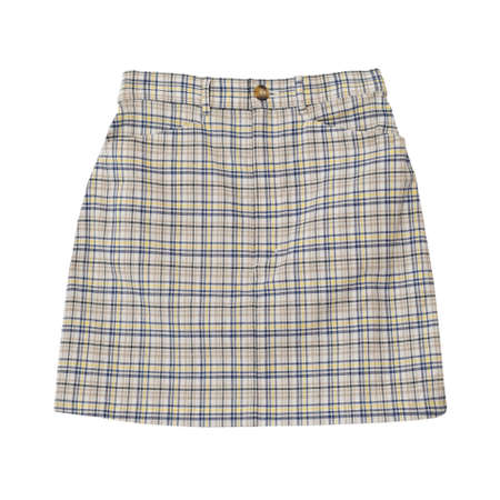 checkered skirt: checkered beige skirt isolated on the white background with working path Stock Photo