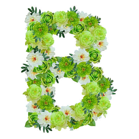 Letter B from green and white flowers isolated on white with working path Stock Photo