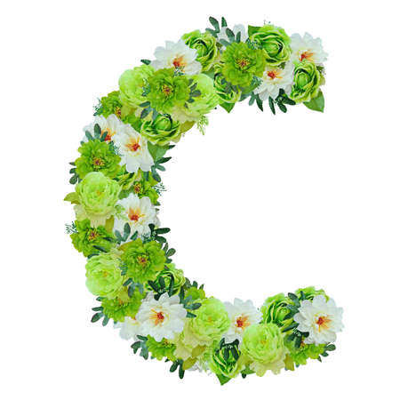 Letter C from green and white flowers isolated on white with working path