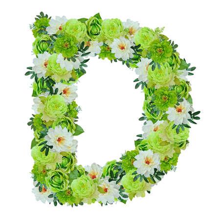 Brief D van groene en witte bloemen geïsoleerd op wit met werk pad Stockfoto