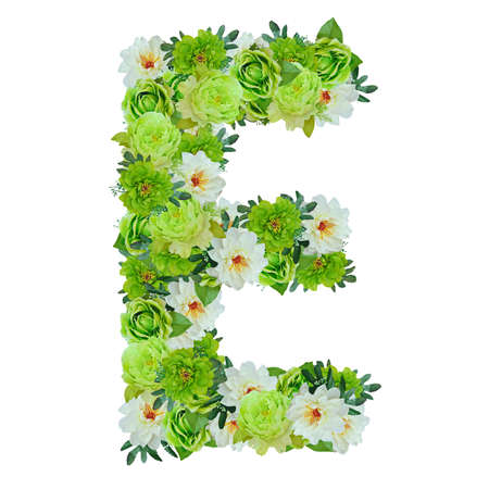 Letter E from green and white flowers isolated on white with working path