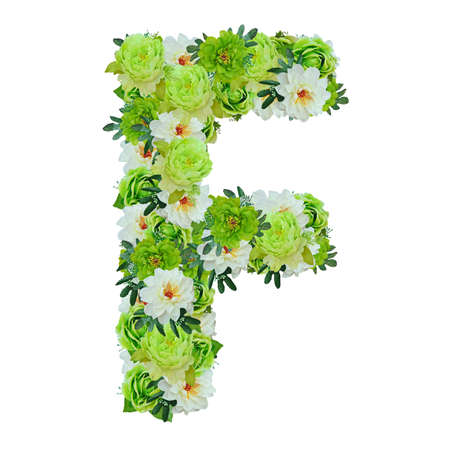 Letter F from green and white flowers isolated on white with working path