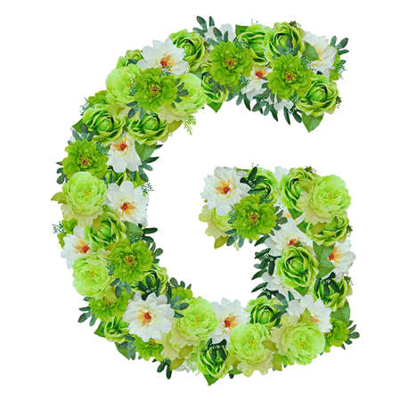 Letter G from green and white flowers isolated on white with working path Stock Photo