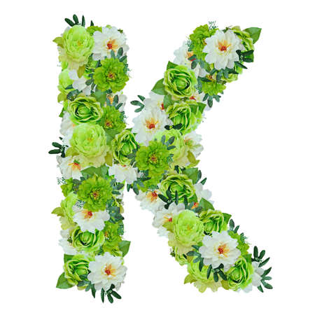 Letter K from green and white flowers isolated on white with working path