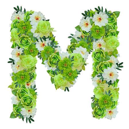 作業パスと白で分離された緑と白の花からの手紙 M 写真素材