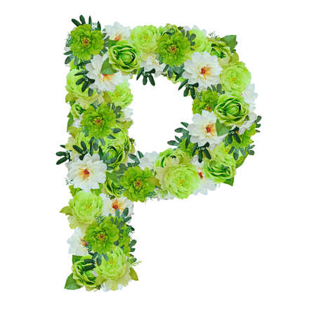 Letter P from green and white flowers isolated on white with working path