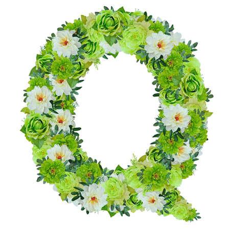 Lettera Q dai fiori bianchi e bianchi isolati su bianco con il percorso di lavoro Archivio Fotografico - 82156234