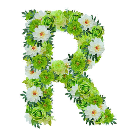 Letter R from green and white flowers isolated on white with working path