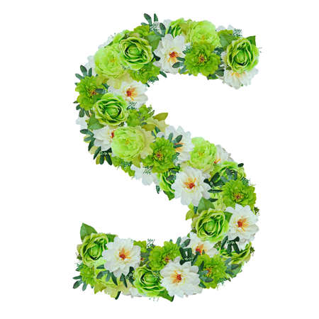 Letter S from green and white flowers isolated on white with working path Stock Photo