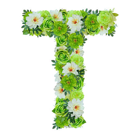 Letter T from green and white flowers isolated on white with working path Stock Photo