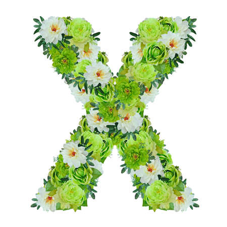 Letter X from green and white flowers isolated on white with working path Stock Photo