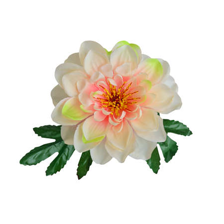 Beautiful artificial flower isolate on white background with working path