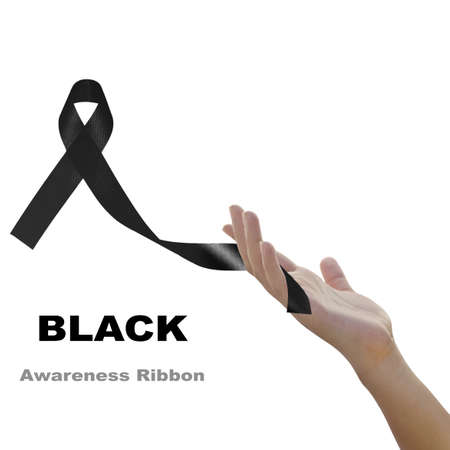 Woman hand holding black  ribbon  against white background for Melanoma and mourning concept Stock Photo