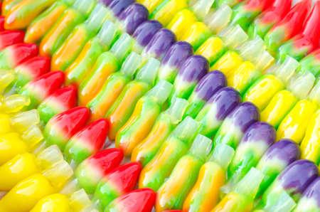 jelly beans: Deletable imitation fruits, Thai dessert Stock Photo