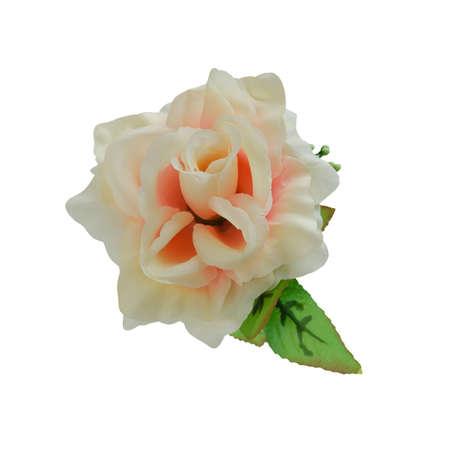 Beautiful fabric orange rose isolated on white background with working path