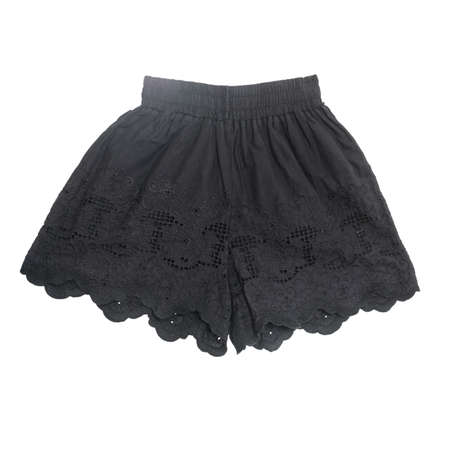 Womens cute black short Pants cute lace crochet design on white background with working path Stock Photo