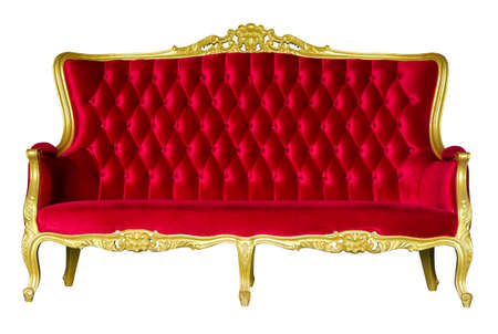 Red Luxurious sofa isolated on whte background with working path