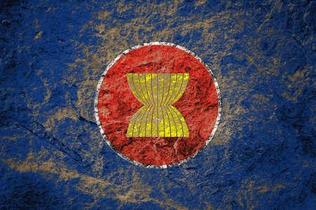 ASEAN flag or AEC flag on grunge stone background Stock Photo