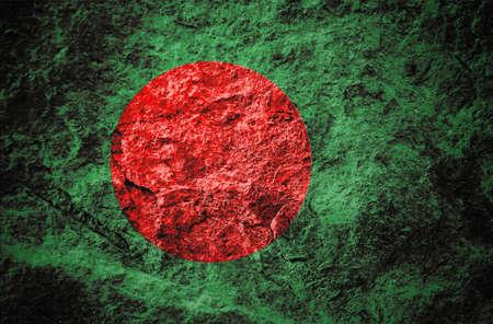 The national flag of Bangladesh on grunge stone background Stock Photo