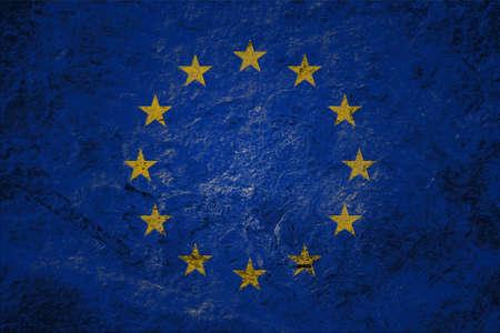 European Union grunge flag on grunge stone background