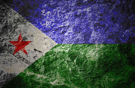 Grunge Djibouti flag on grunge stone background Stock Photo