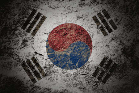 Grunge South Korea flag on grunge stone background