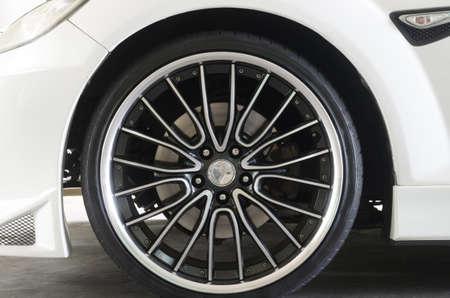 Close up of midern luxury car wheel